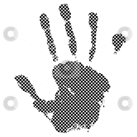 Halftone hand stock vector clipart, Black halftone dot hand with illustrated grunge effect by Michael Travers