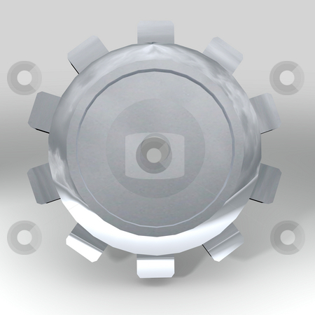 Silver gear teeth stock photo, Silver metal gear or cog with shadow and white background by Michael Travers