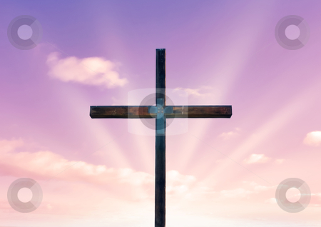 Cross of christ and pink sky stock vector clipart, Cross of christ in field in front of a pink sky by Phil Morley