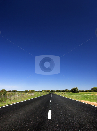 Road to nowhere stock photo, Empty Country road through farm land by ikostudio