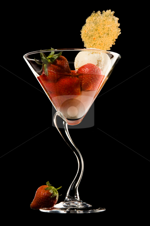 Dessert elegance stock photo, Elegantly presented strawberry and vanilla ice dessert by Anneke