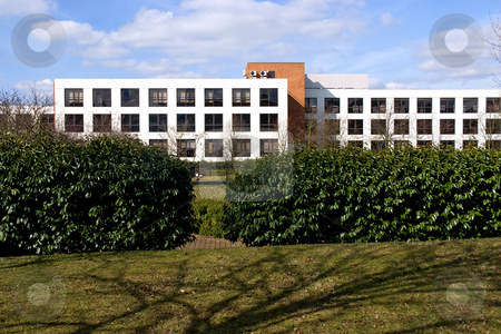 The office stock photo, Modern office block set in parkland by Paul Phillips