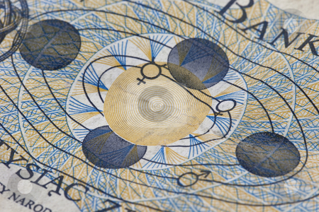 Solar system engraving stock photo, Engraving detail of solar system with Earth in four positions on old crumpled 1000 zloty banknote from Poland commemorating Copernicus heliocentric concept by Marek Uliasz
