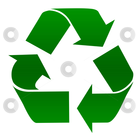 Recycling symbol stock photo, Green recycling symbol isolated on white background. by Martin Crowdy