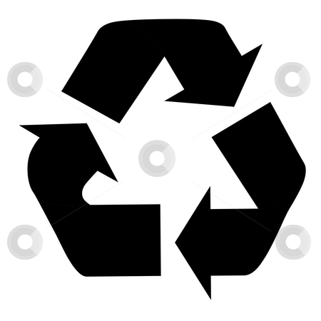 Silhouetted recycling symbol stock photo, Black silhouetted recycling symbol isolated on white background. by Martin Crowdy