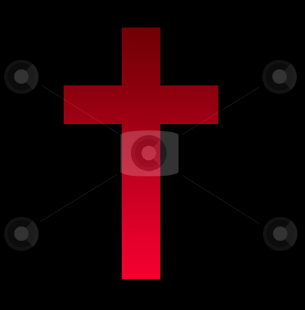 Religious cross stock photo, Glowing red religious cross or crucifix, isolated on black background. by Martin Crowdy