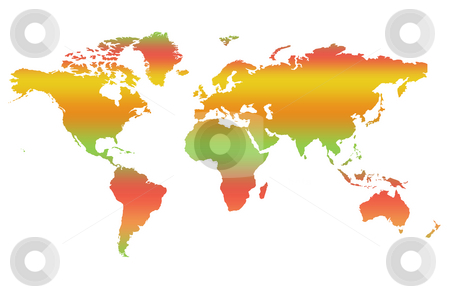 Map of World stock photo, Colorful two dimensional map of World, isolatd on white background. by Martin Crowdy