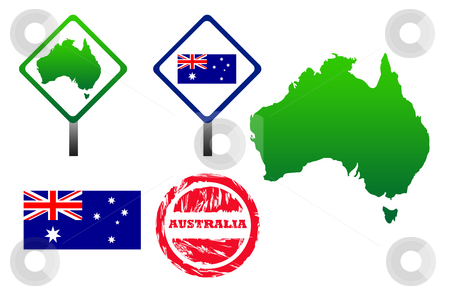 Australia icons set stock photo, Australia icons set with map, flag, sign and stamp, isolated on white background. by Martin Crowdy