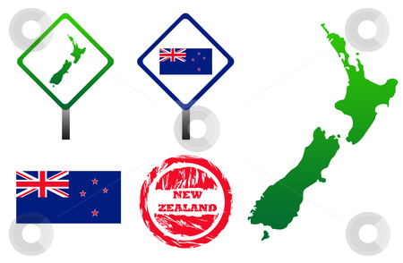 New Zealand icons set stock photo, New Zealand icons set with map, flag, sign and stamp, isolated on white background. by Martin Crowdy