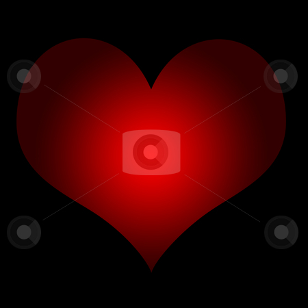 Red love heart stock photo, Red love hear isolated on black background with copy space. by Martin Crowdy