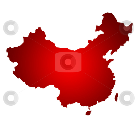 Map of China stock photo, Map of China isolated on a white background. by Martin Crowdy
