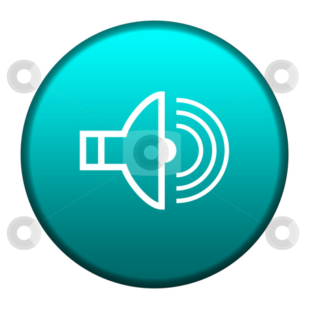Audio button stock photo, Audio symbol on glossy turquoise button, isolated on white background with copy space. by Martin Crowdy