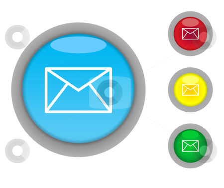 Letter button icons stock photo, Set of four colorful glossy letter or email button icons with light effect isolated on white background. by Martin Crowdy