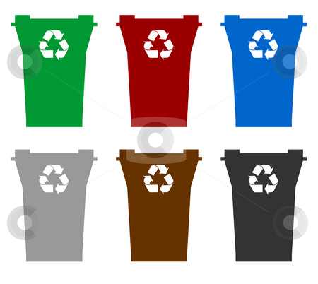 Recycling bins stock photo, Illustration of six recycling bins in different colors to represent allowed contents, isolated on white background. by Martin Crowdy