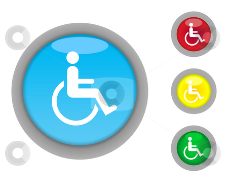 Disabled button icons stock photo, Set of four colorful glossy disabled button icons with light effect isolated on white background. by Martin Crowdy