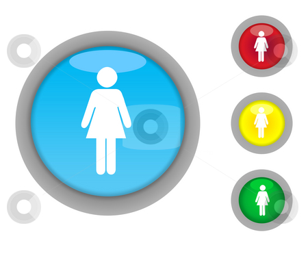 Female button icons stock photo, Set of four colorful glossy female button icons with light effect isolated on white background. by Martin Crowdy