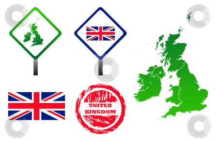 United Kingdom icons set stock photo, United Kingdom icons set with map, flag, sign and stamp, isolated on white background. by Martin Crowdy