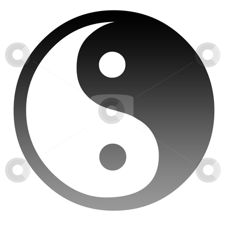 Yin and Yang symbol stock photo, Silhouetted Yin and Yang symbol isolated on white background. by Martin Crowdy
