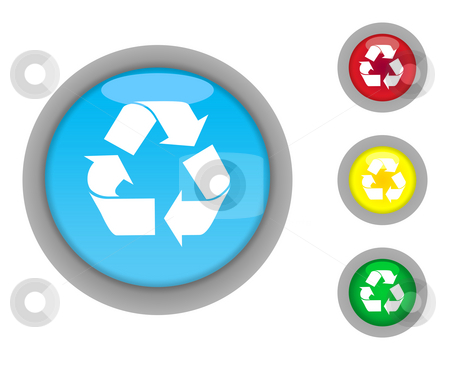 Recycling button icons stock photo, Set of four colorful glossy recycling button icons with light effect isolated on white background. by Martin Crowdy