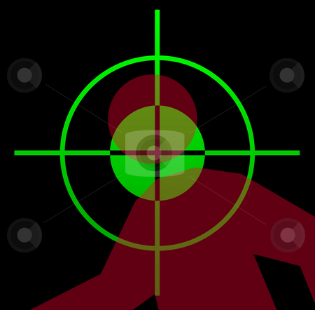 Gun sight aiming at victim stock photo, Telescopic gun sight illuminated at night, aiming at victim. by Martin Crowdy