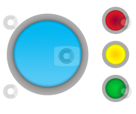 Blank button icons stock photo, Set of four colorful glossy button icons isolated on white background with copy space by Martin Crowdy