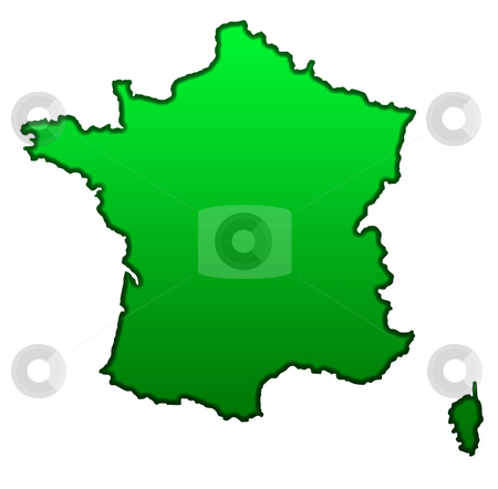 Map of France stock photo, Map of France isolated on white background. by Martin Crowdy