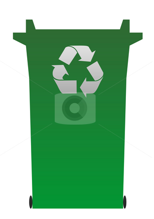 Green recycling bin stock photo, Illustration of green recycling or rubbish bin isolated on white background. by Martin Crowdy