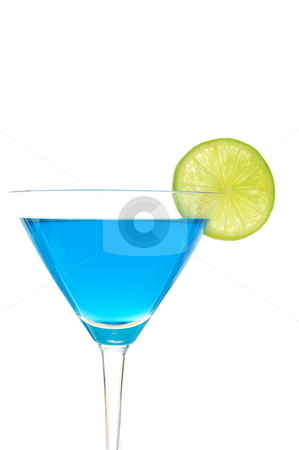 Blue drink stock photo, Cocktail drink with Curacao and copyspace isolated on white background by Gunnar Pippel