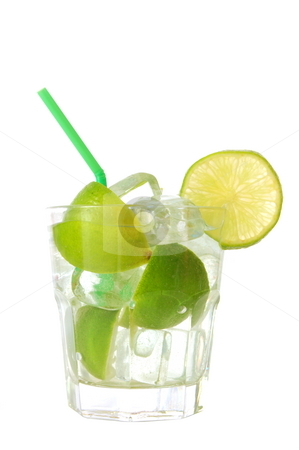 Lemonade stock photo, Green glass of lemonade with lime or lemon by Gunnar Pippel