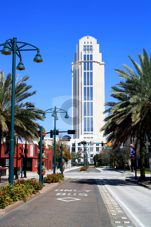 Courthouse, Downtown Orlando, Florida stock photo, Looking north on Magnolia Avenue with a side view of the courthouse in downtown Orlando, Florida, USA. by Carl Stewart