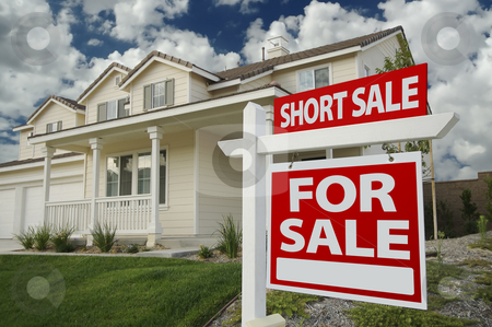 Short Sale Home For Sale Sign and House stock photo, Short Sale Home For Sale Real Estate Sign and House - Right Side. by Andy Dean