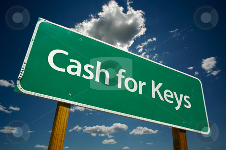 Cash for Keys Green Road Sign Over Clouds stock photo, Cash for Keys Green Road Sign on Dramatic Blue Sky with Clouds. by Andy Dean