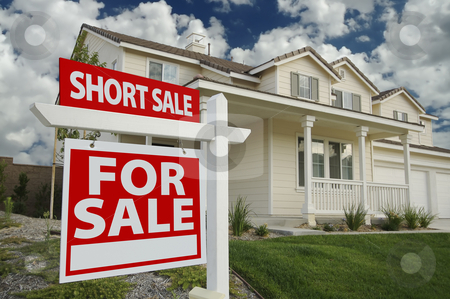 Short Sale Home For Sale Sign and House stock photo, Short Sale Home For Sale Real Estate Sign and House - Left Side. by Andy Dean