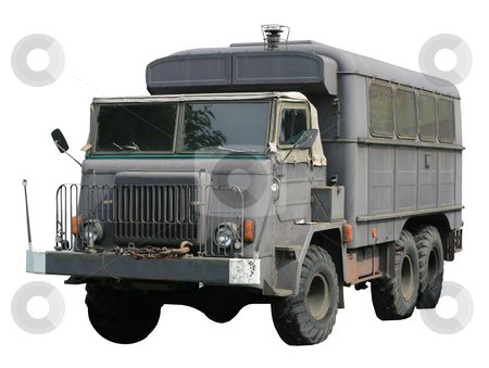 Vintage military truck stock photo, Vintage military truck isolated over white background by Jan Remisiewicz