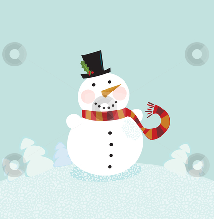 Christmas winter snowman stock vector clipart, Cute snowman in christmas snowy nature. Vector cartoon illustration. by Jana Guothova