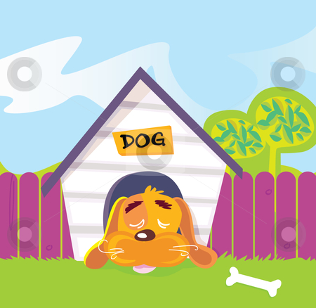 cartoon house outline. clipart house outline. dog