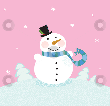 Christmas snowman on pink background stock vector clipart, Cute snowman in christmas snowy nature. Vector cartoon illustration. by Jana Guothova