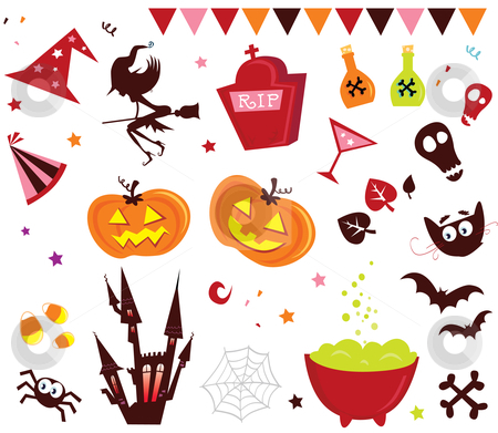 Vector - Halloween vector Icons set III stock vector clipart, Halloween vector icons in red color by BEEANDGLOW