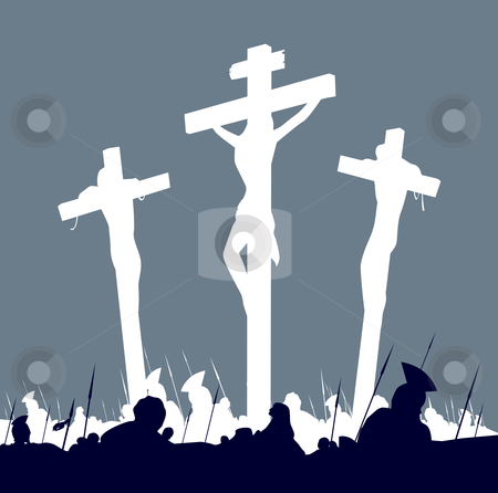 Vector - Jesus Christ crucifixion - scene with three crosses stock vector clipart, Calvary crucifixon scene with three crosses Vector Illustration by Jana Guothova