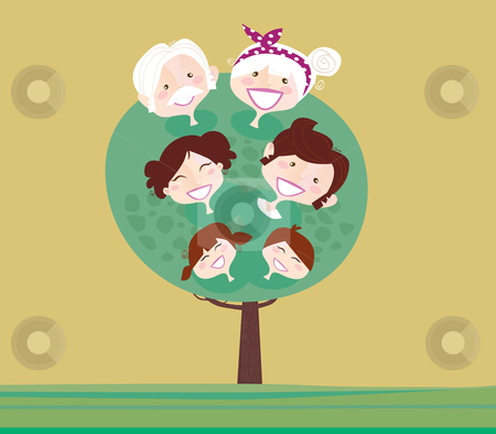 Vector - Big family generation tree stock vector clipart, Family relationship tree Grandmother, grandfather, mother, father and childrens Vector Illustration in vintage style by Jana Guothova