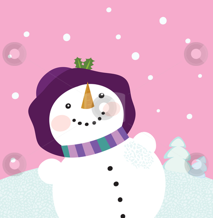 It's snowing - Winter snowman lady stock vector clipart, Winter romance. Christmas snowy lady on pink background. Vector cartoon illustration. by Jana Guothova