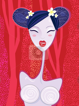 Asian woman stock vector clipart, Geisha on red summer background. Stylized asian geisha. Vector Illustration. by Jana Guothova