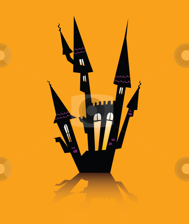 Vector - Halloween haunted house stock vector clipart, Vector - Halloween haunted house by Jana Guothova