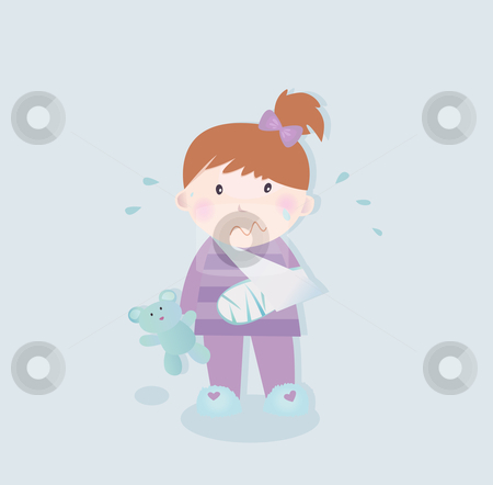 Small patient - child with fractured bone stock vector clipart, Small crying child with fractured bone and blue teddy bear. Vector Illustration. by Jana Guothova