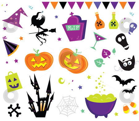 Vector - Halloween vector Icons set III stock vector clipart, Halloween vector icons by Jana Guothova