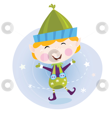 Vector - Santa christmas elf stock vector clipart, Cute christmas elf in green costume Vector cartoon Illustration by BEEANDGLOW