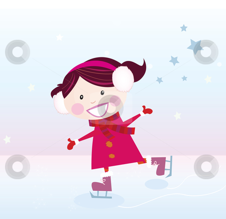 Vector - Ice skating girl stock vector clipart, Small girl with big smile on ice Vector cartoon illustration by BEEANDGLOW