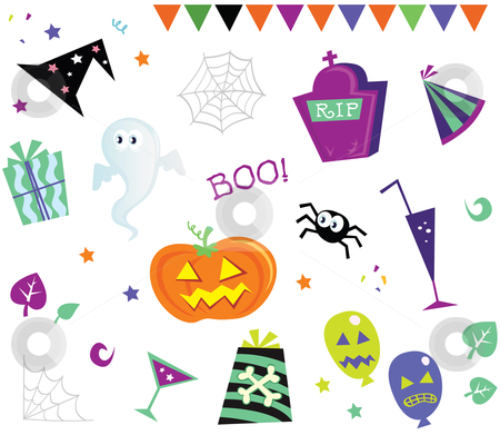 Vector - Halloween design elements and icons I stock vector clipart, Retro halloween design elements Vector Illustration by Jana Guothova