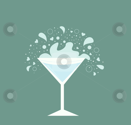 Martini drink in glass stock vector clipart, Fresh martini drink on neutral background. Vector Illustration of alcohol drink in retro style. by Jana Guothova