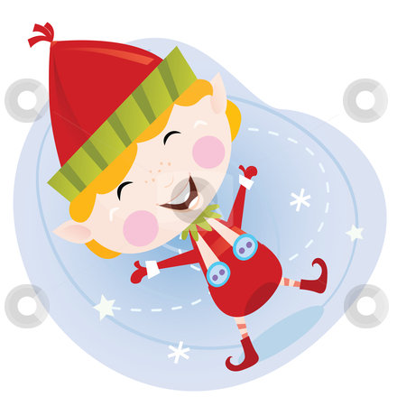 Vector - Santa christmas elf in red costume stock vector clipart, Cute christmas elf in red Vector cartoon Illustration by Jana Guothova